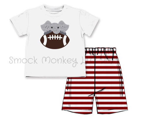 "Boy's applique ""ELEPHANT FOOTBALL"" white short sleeve shirt and garnet striped knit shorts (10t)"