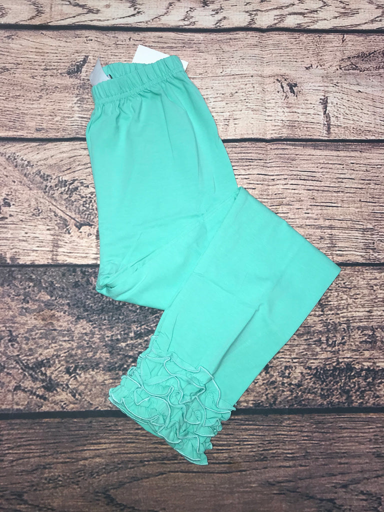 Girl's mint knit legging with ruffle trim (3m,6m,18m,8t,10t,12t)