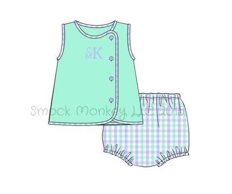 Boy's sleeveless mint top and mint and blue gingham diaper cover set (NO MONOGRAM) (3m,9m,12m,18m,2t,3t,4t)