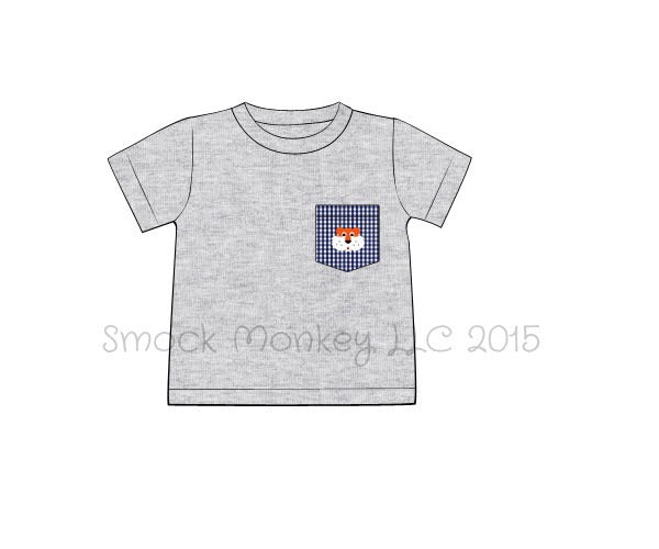 "Boy's navy gingham pocket with embroidered ""TIGER"" gray knit short sleeve shirt (9m,18m,24m,4t,6t,7t,8t)"
