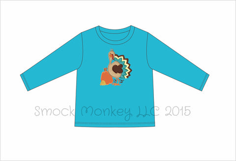 "Boy's applique ""GOBBLE, GOBBLE, TURKEY"" aqua LONG SLEEVE SHIRT*see desc (10t)"