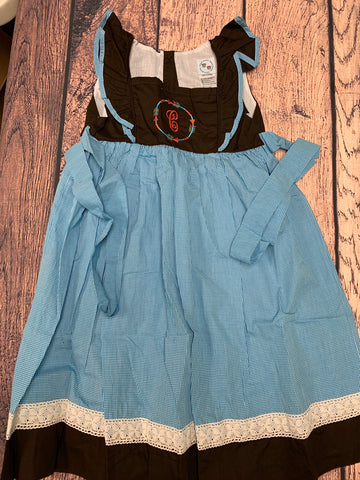 "Girl's ""ARROW"" angel wing sleeve blue microgingham apron dress ""C"" (12t)"