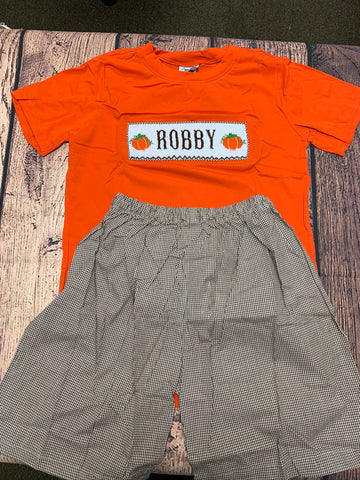 "Boy's ""PERSONALIZED PUMPKIN"" orange short sleeve shirt with brown microgingham cotton shorts set ""ROBBY"" (10t)"