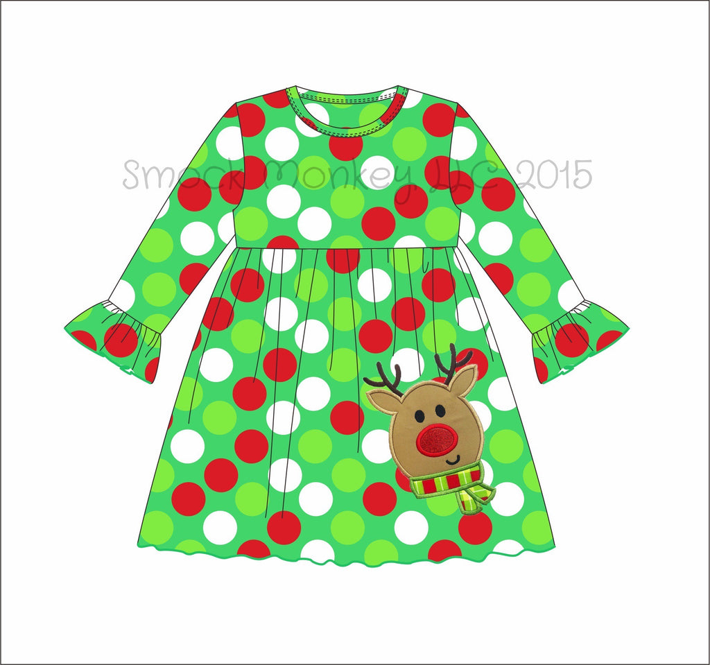 "Girl's applique ""RUDY REINDEER"" Christmas polka dot long sleeve swing dress (18m,2t,3t,4t,5t,6t,7t)"
