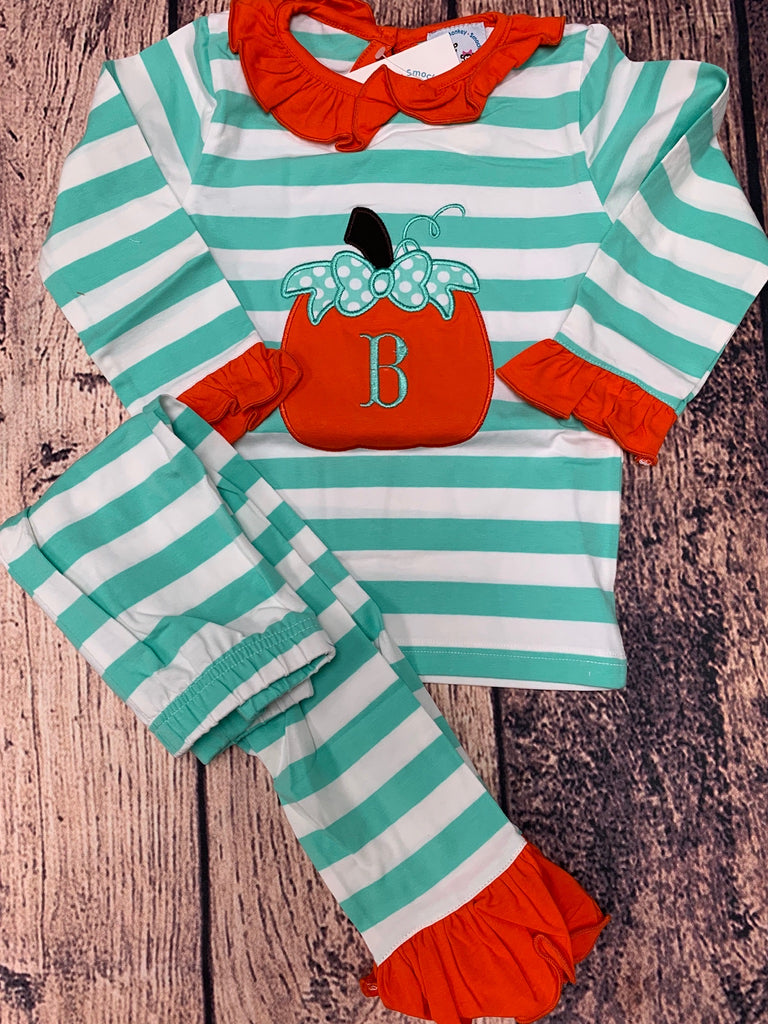 "Girl's applique ""PUMPKIN"" mint striped knit ruffle pajama set ""B"" (3t)"