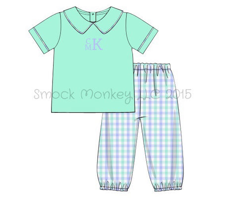 Boy's Peter Pan collar mint shirt and blue and mint gathered pants set (NO MONOGRAM) (9m,12m,18m,24m,2t)