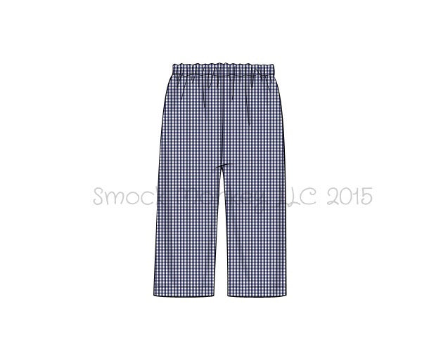 Boy's navy gingham cotton pants (3m,9m,7t)