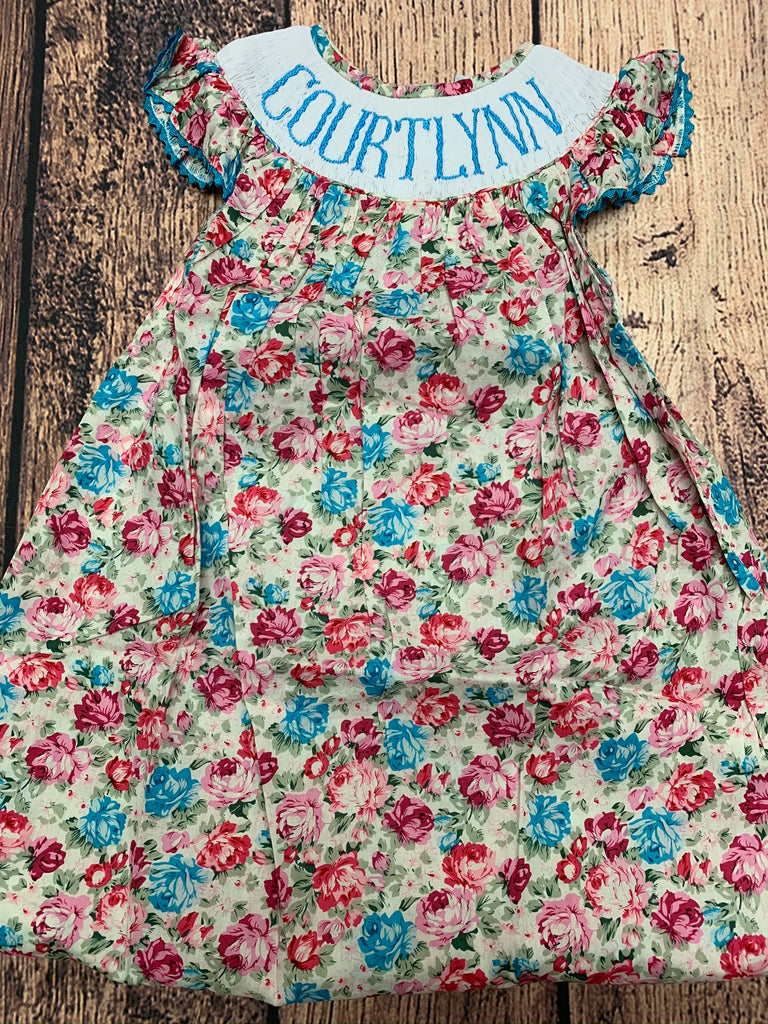 "Girls smocked ""PERSONALIZED"" floral bishop dress ""COURTLYNN"" (5t)"