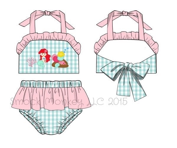 "Girl's applique ""MERMAID"" mint gingham two piece bow swimsuit (12m,18m,24m,2t)"
