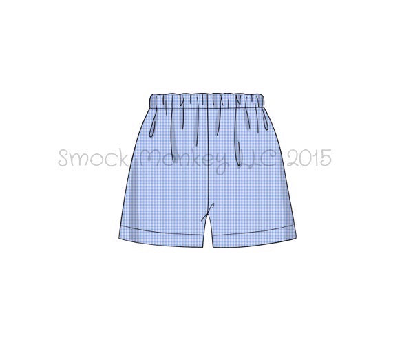 Boy's medium blue microgingham shorts (2t,3t,4t,7t)