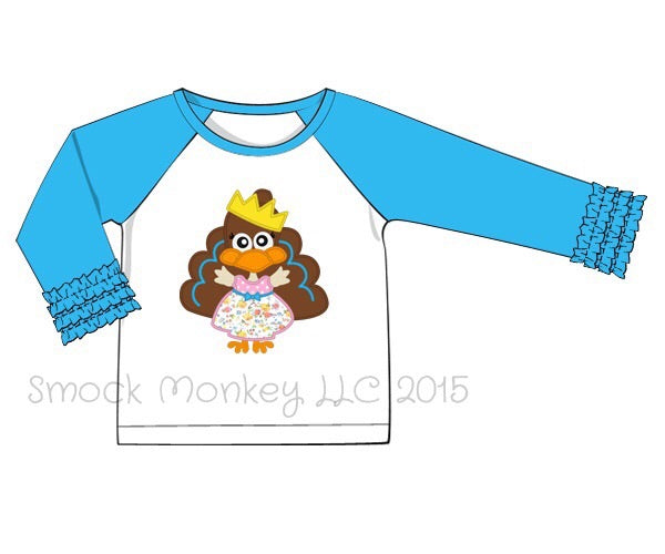 "Girl's applique ""PRINCESS TURKEY"" baseball shirt with aqua fringe ruffle sleeves (12m,2t,3t,5t,6t,7t,8t)"