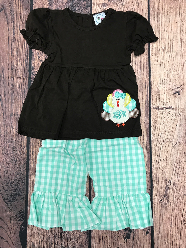 "Girl's applique ""TURKEY"" brown top and  mint gingham pant set ""HPE"" (18m)"