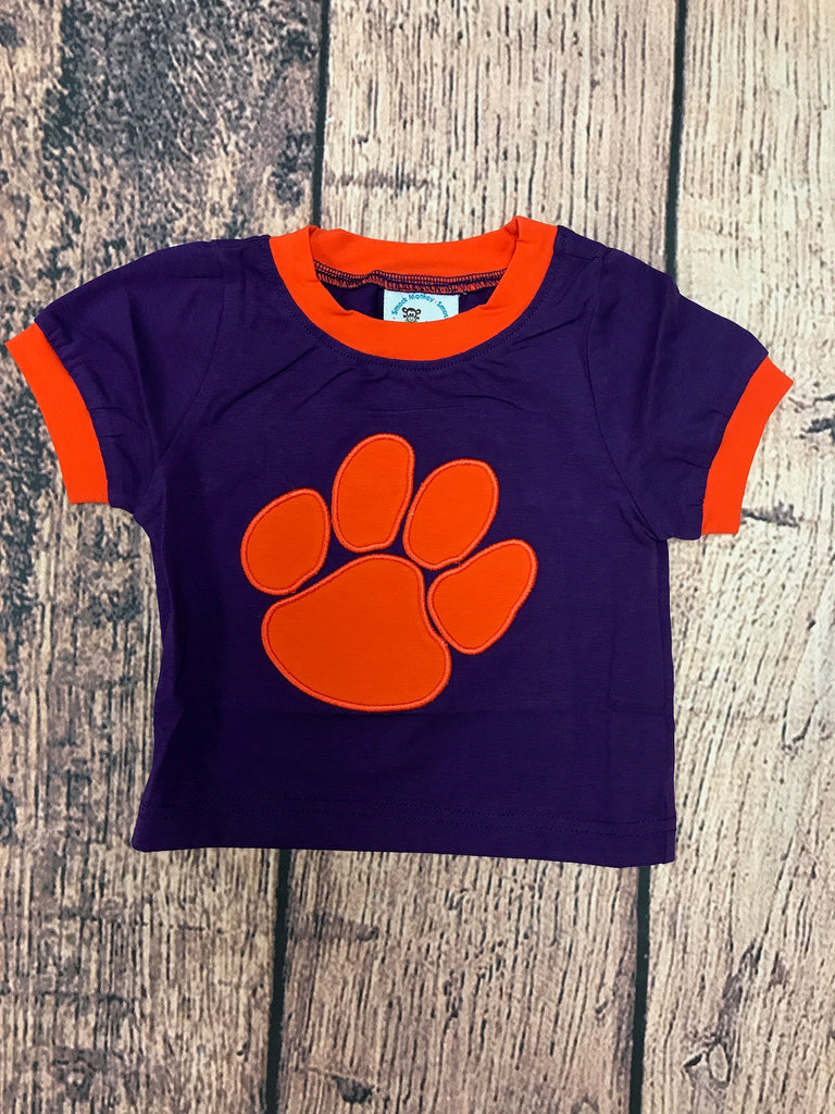 "Boy's applique ""PAW"" purple knit short sleeve shirt with orange trim (NB)"