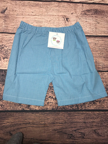 Boys AQUA microgingham cotton shorts (8t)