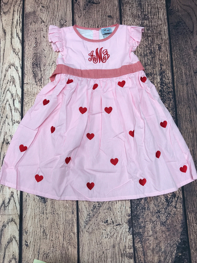 "Girl's pink gingham embroidered heart dress ""AMJ"" (4t)"