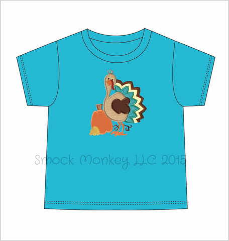 "Boy's applique ""GOBBLE, GOBBLE, TURKEY"" aqua SHORT SLEEVE SHIRT*see desc (9m,12m,18m,24m,2t)"