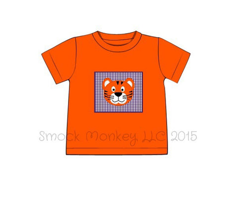 "Boy's applique ""TIGER"" orange with purple gingham knit short sleeve shirt"