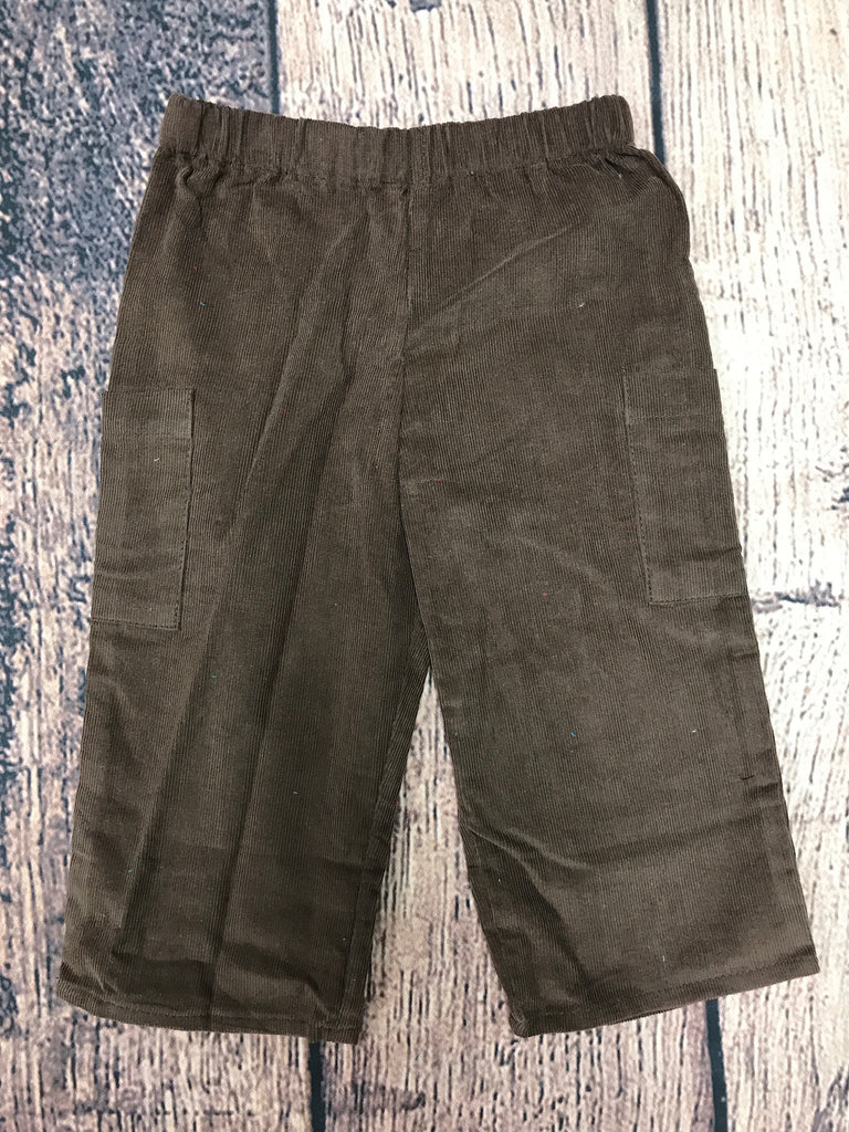 Boy's chocolate brown corduroy cargo pants (SMOCKADOT BRAND) (6m,12m,4t)