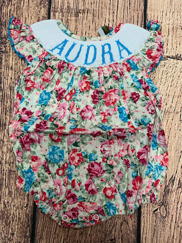 "Girls smocked ""PERSONALIZED"" floral bubble ""AUDRA"" (3m)"