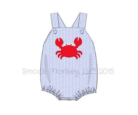 "Boy's applique ""CRAB"" blue seersucker bubble (NO MONOGRAM) (9m,12m,24m,2t,3t)"