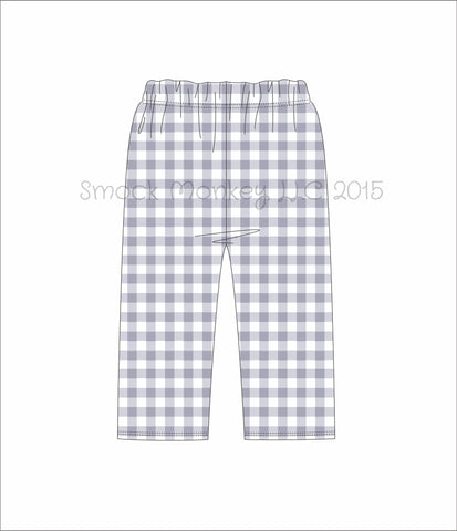 Boy's gray gingham cotton pants (9m,2t,3t,4t,5t,6t,7t,8t,10t)
