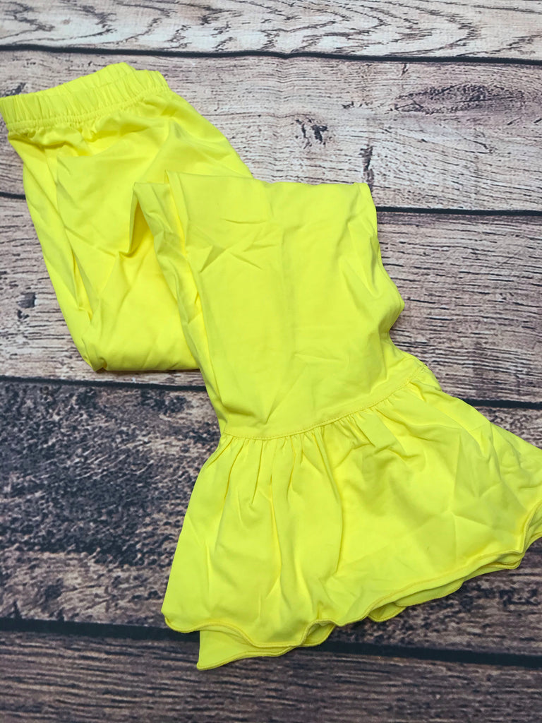 Girls YELLOW single ruffle knit pants (10t)