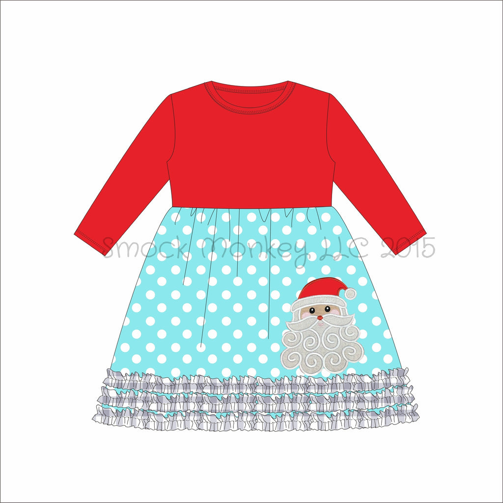 "Girl's applique ""SANTA"" red long sleeve with aqua polka dot knit swing dress with gingham fringe (6m,9m)"