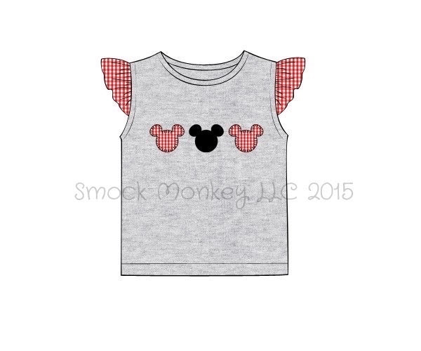 "Girl's applique ""MOUSE HEADS"" gray knit angel wing shirt (18m,24m,2t,3t,4t,5t,6t,7t)"