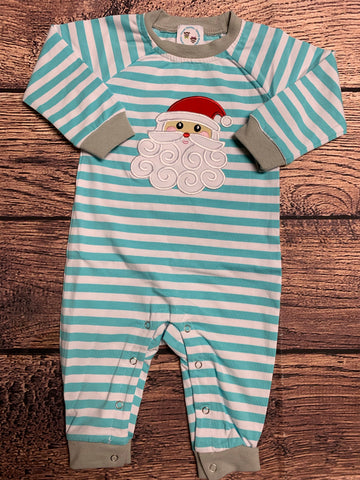 "Boy's applique ""SANTA"" aqua striped knit long sleeve romper (NB,6m,9m,18m,24m,2t,3t)"