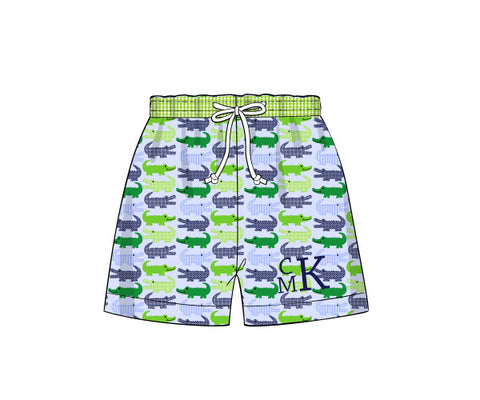 Boy's alligator print swim trunk with navy gingham waistband (NO MONOGRAM) (9m,12m,18m,24m,3t,4t,5t,6t,7t,8t)