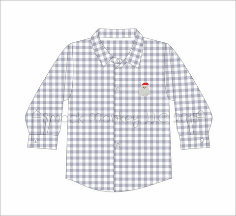 "Boy's embroidered ""SANTA"" gray gingham long sleeve button down shirt (18m,24m,2t,3t,4t,5t)"