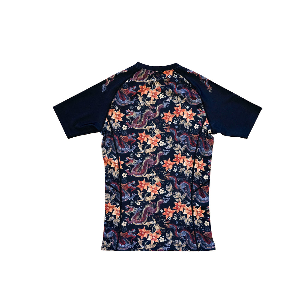 DRAGON FLORAL SHORT SLEEVE RASHGUARD