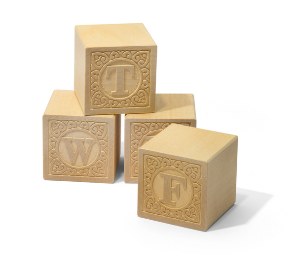 Uncle Goose Alpha-blank Uppercase Wood Blocks - Uncle Goose - Woozy Moo - 1