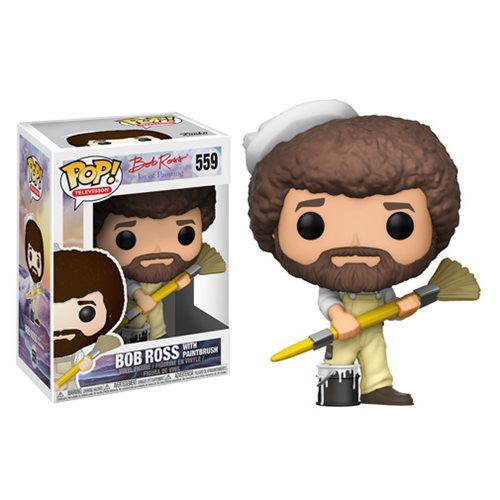 Bob Ross with Paintbrush | The Joy of Painting | POP! Television Vinyl Figure #559 | Funko | Woozy Moo