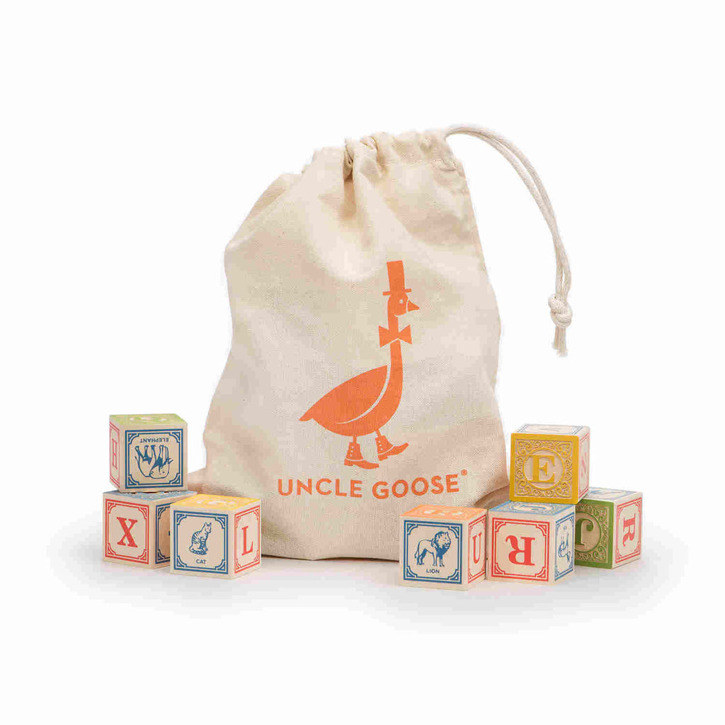 English Language Classic Building Blocks with Canvas Bag - Uncle Goose - Uncle Goose - Woozy Moo - 1
