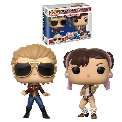 Captain Marvel Chun-Li 2-pack Marvel vs Capcom Infinite GamerVerse Pop Games Vinyl Figures
