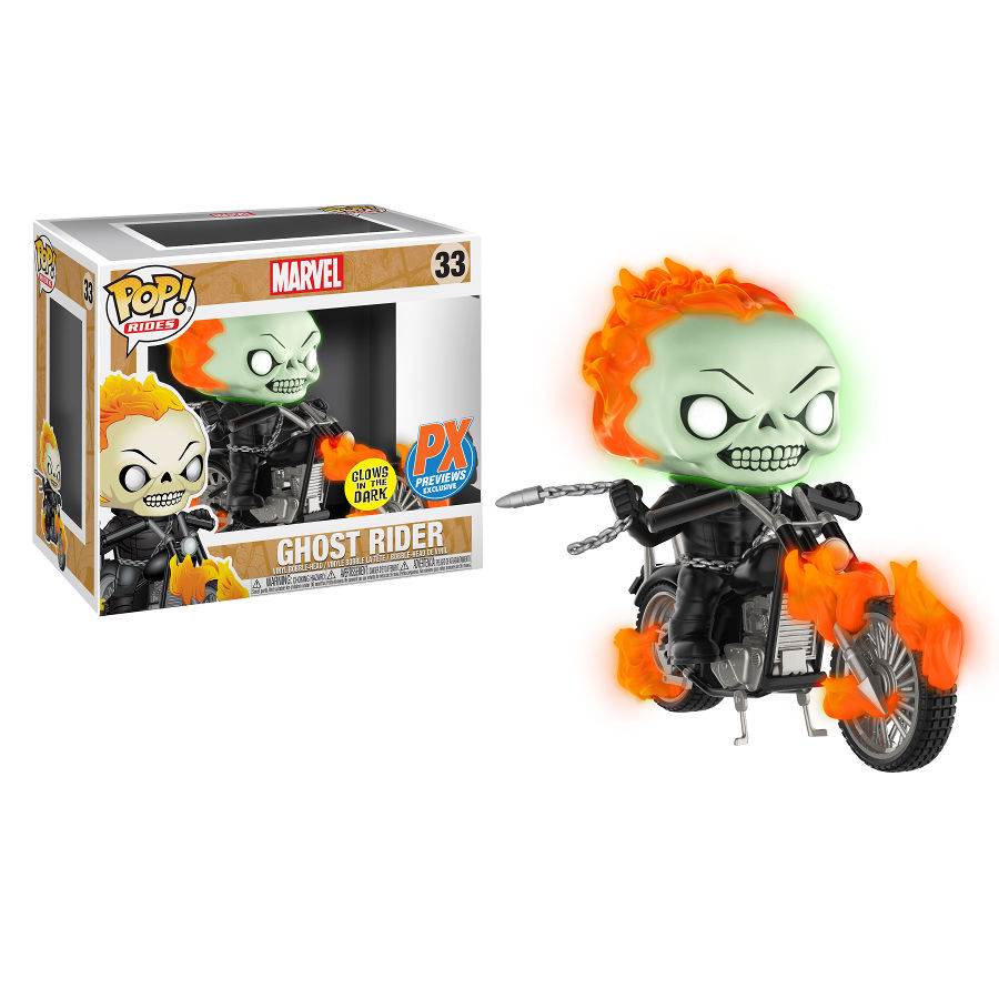 Ghost Rider (Glow-in-the-Dark) | Marvel | POP! Rides Vinyl Figure 33 | Funko | Woozy Moo
