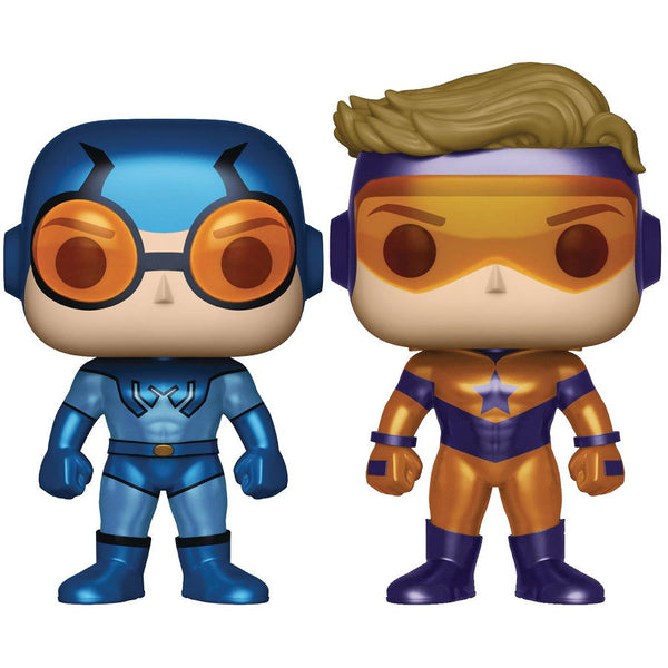 Booster Gold & Blue Beetle 2-Pack (Previews Exclusive) Metallic Version | DC Comics | POP! Heroes Vinyl Figures | Funko | Woozy Moo
