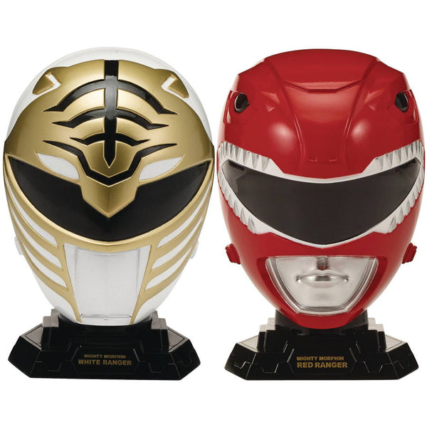 Red & White Ranger Legacy Helmet Set | Mighty Morphin Power Rangers (MMPR) | 1/4 Scale Replica | Bandai America | Woozy Moo