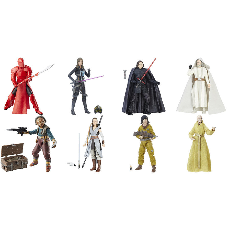 "Elite Praetorian Guard, Kylo Ren, Jaina, Luke, Maz, Rey, Rose, Snoke (Case of 8) | Star Wars Episode VIII The Last Jedi | The Black Series 6"" Action Figures 