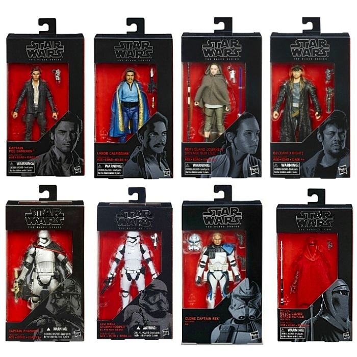 "Captain Poe Dameron, Lando Calrissian, Rey (Island Journey), DJ (Canto Bright), Captain Phasma, First Order Stormtrooper, Clone Captain Rex, Royal Guard | Star Wars The Black Series 6"" Action Figures 