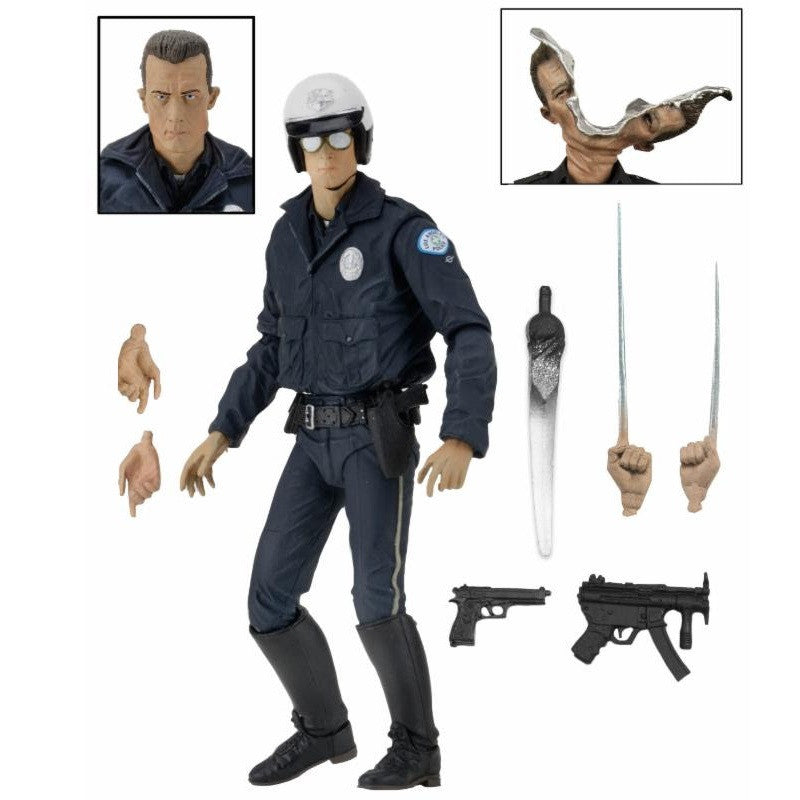 "Terminator 2 - Ultimate T-1000 Motorcycle Cop 7"" Action Figure - NECA - Woozy Moo - 1"