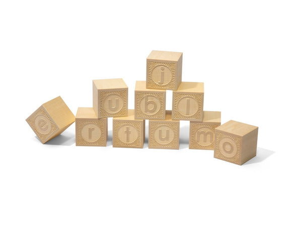Uncle Goose Alpha-blank Lowercase Wood Blocks - Uncle Goose - Woozy Moo - 1