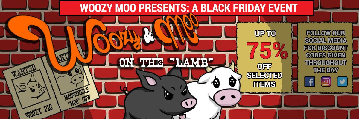 Black Friday Event Woozy & Moo on the Lamb