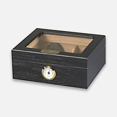 Capri Glass Top Black Oak 50-Count Humidor