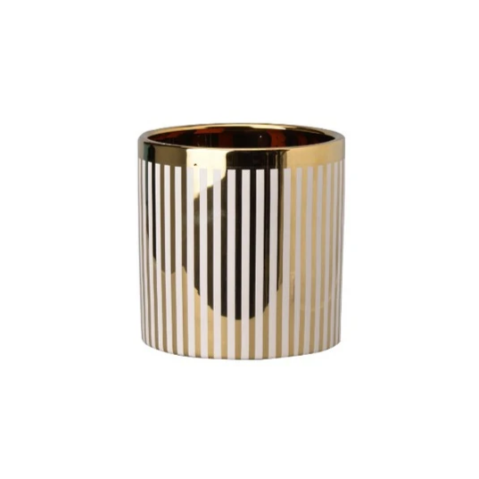 Cream/Gold Stripe Planter