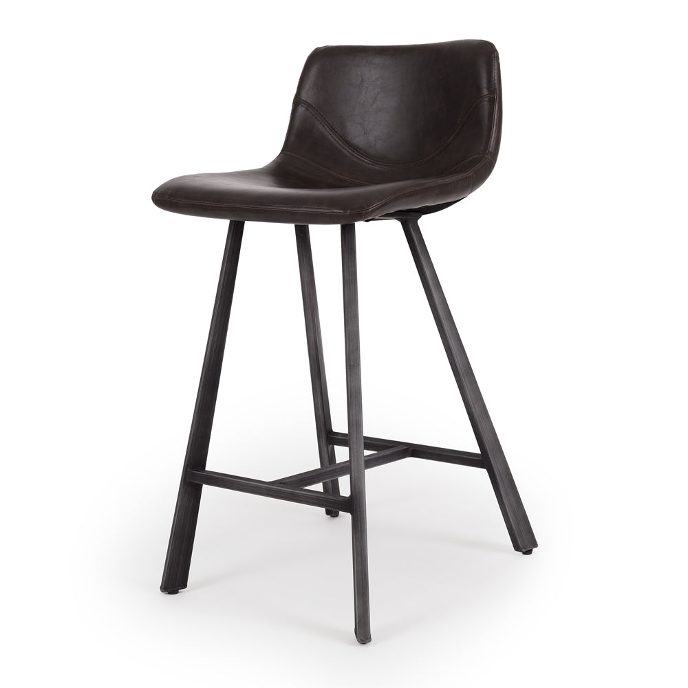 Rustic Barstool Vintage Dk Brown PU - Furniture and Homewares Upper Hutt