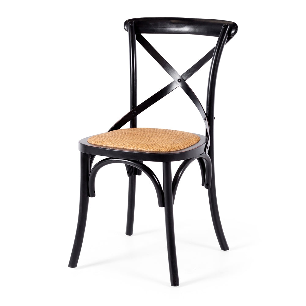Villa X Back Dining Chair - Aged Black Rattan Seat *PREORDER*