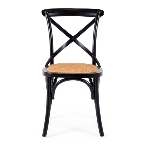 Villa X Back Dining Chair - Aged Black Rattan Seat