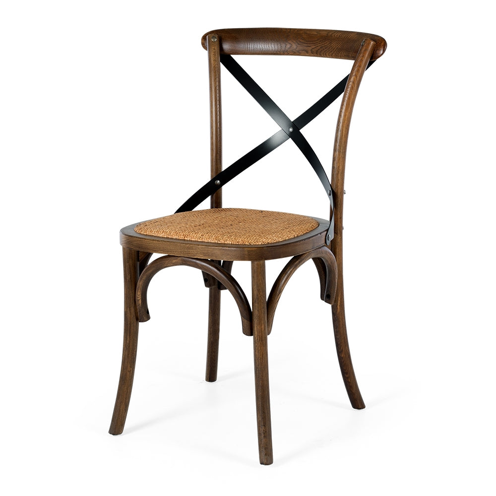 Villa X Back Dining Chair - Deep Oak Rattan Seat